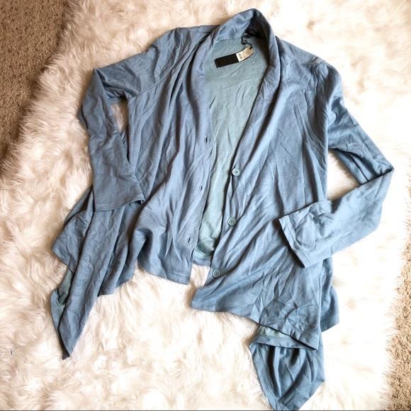 Talbots Sweaters - Talbots Baby Blue Drape Cardigan Sweater